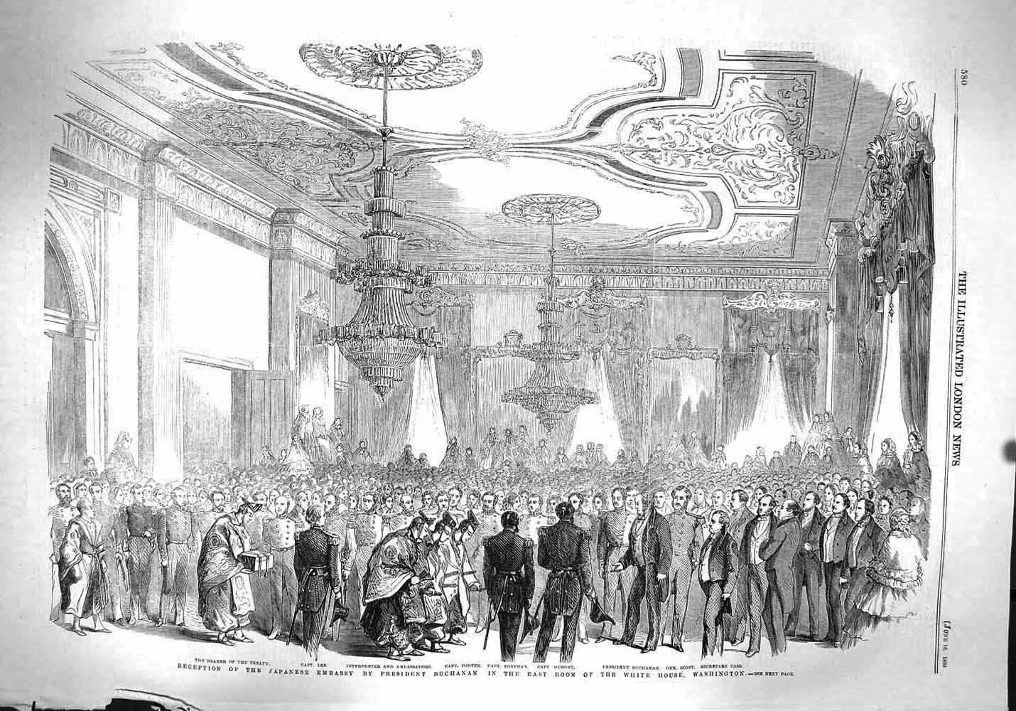 President Buchanan greets the Japanese Embassy in the East Room of the White House