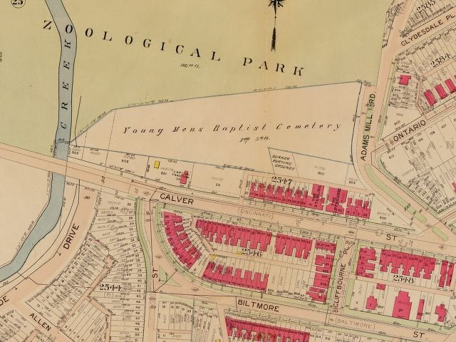 1907 Baist real estate map of Young Men's Burying Ground (Library of Congress)