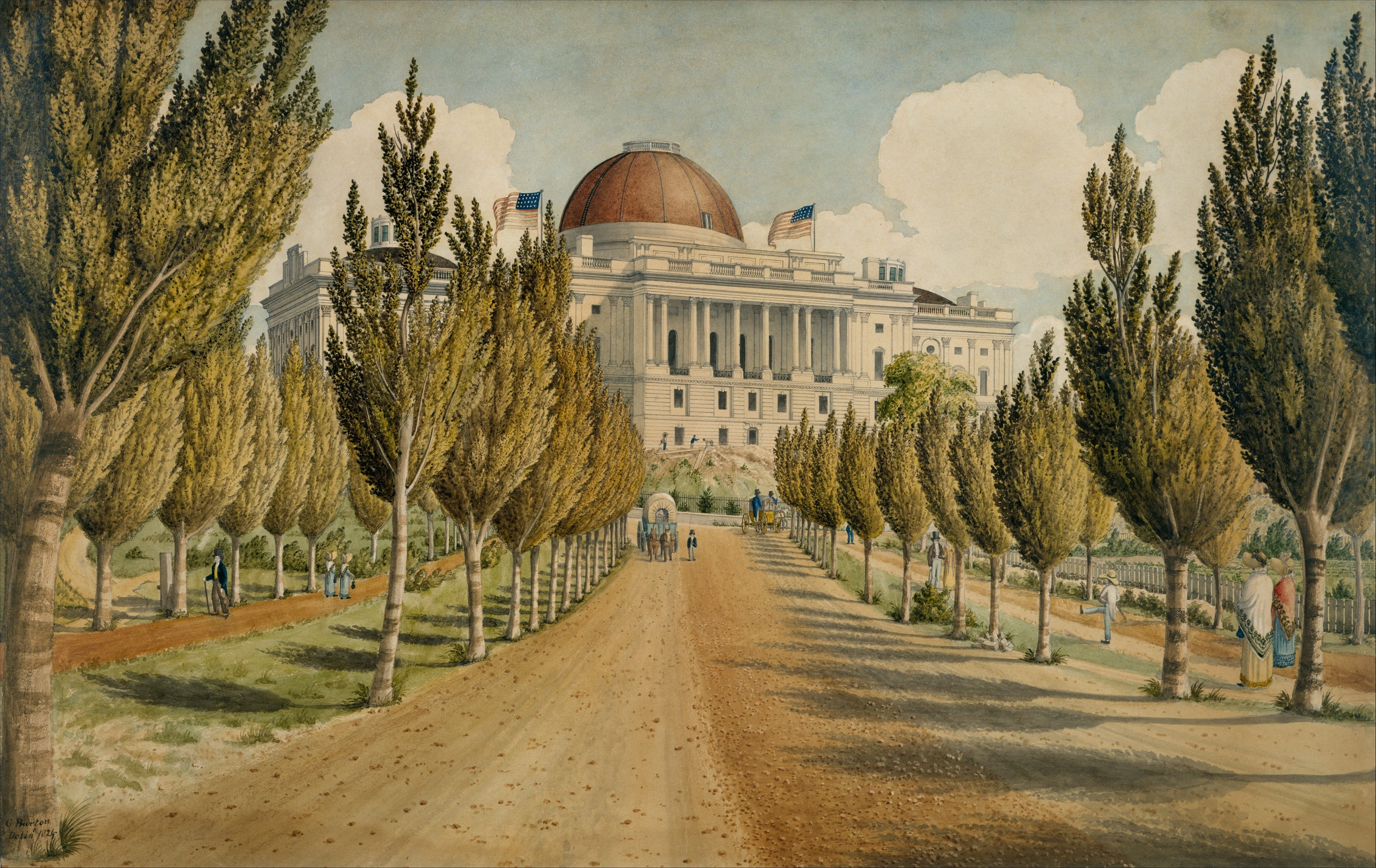 Beautiful View of the Capitol Down The Avenue in 1824