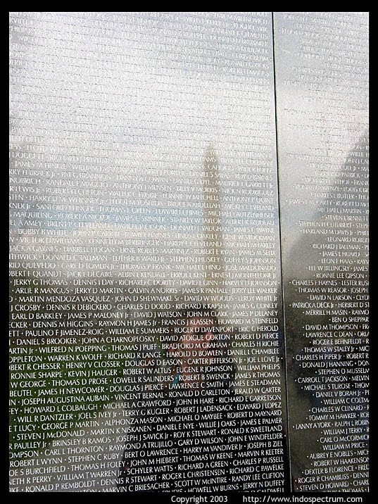 Vietnam Memorial with reflection