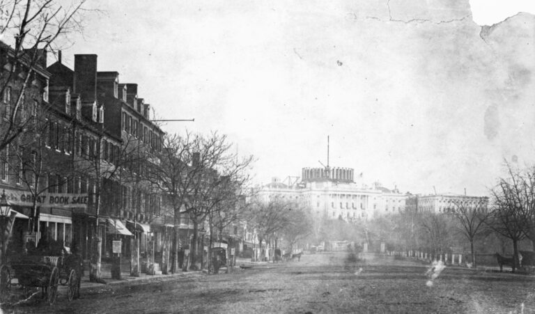photograph of the Capitol under construction in 1858