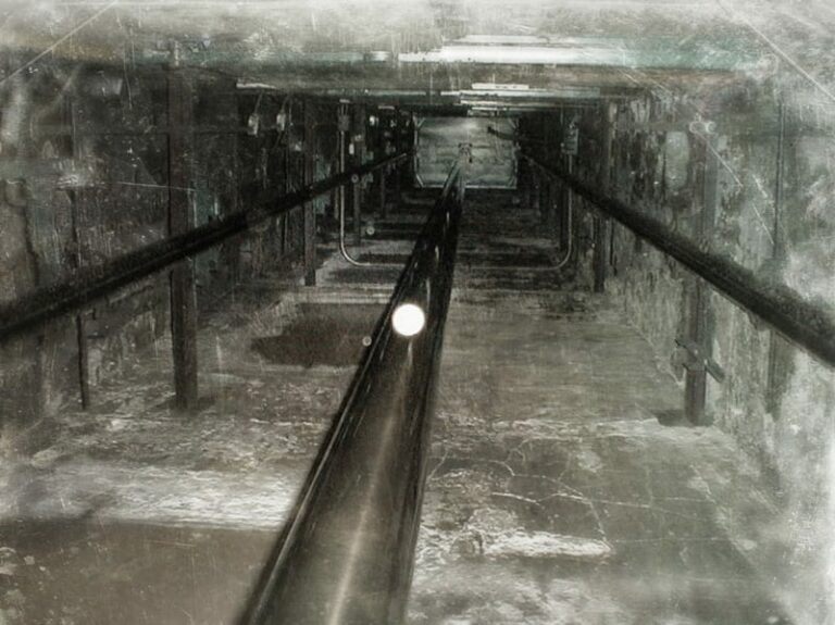 view down an elevator shaft