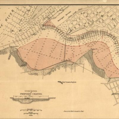 intersection of Potomac and Anacostia Rivers as mapped by Peter Hains in1891