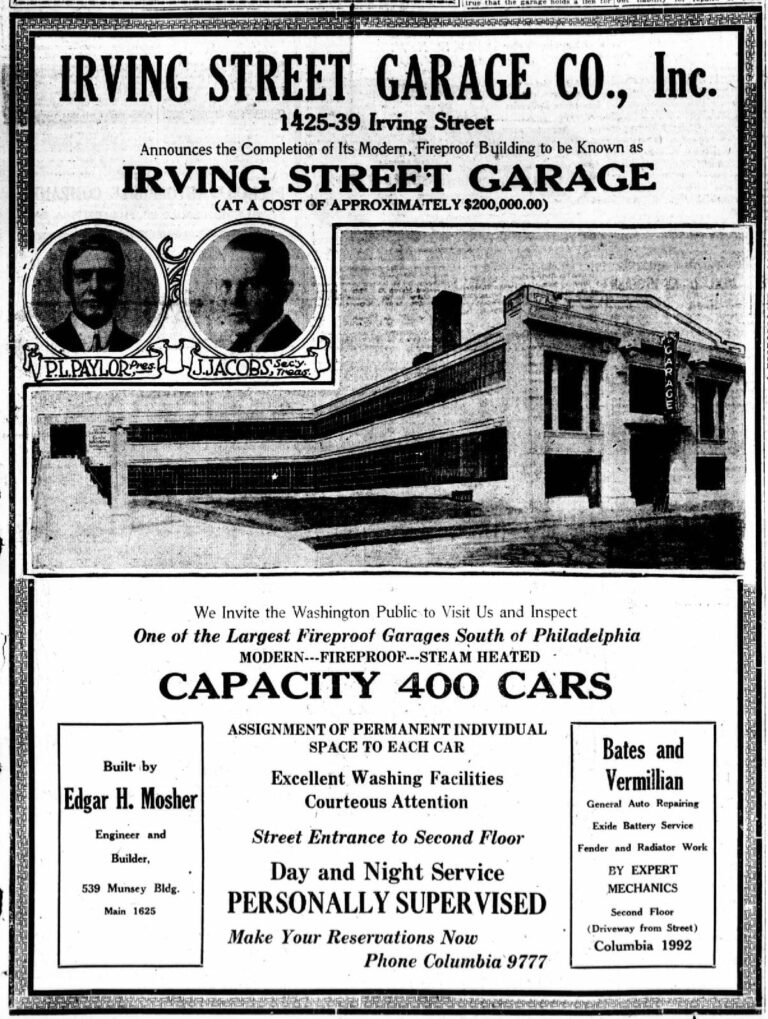 Irving Street Garage Co. advertisement in the Washington Times