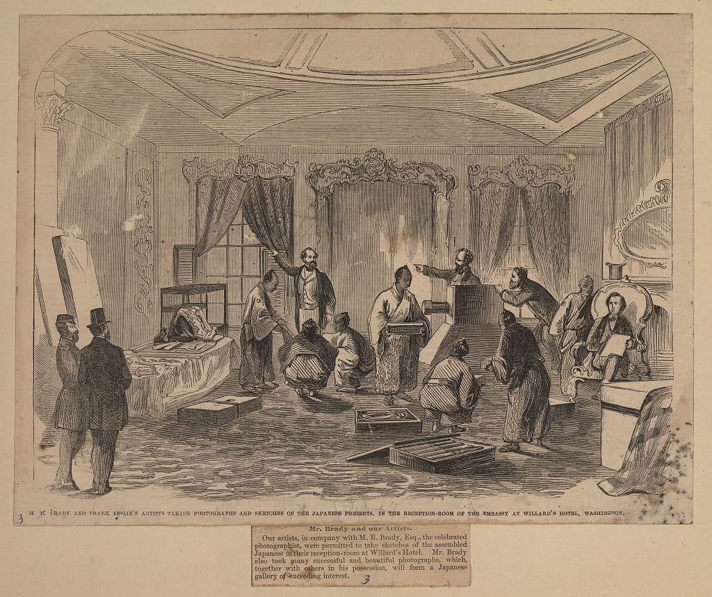 M.B. Brady and Frank Leslie's artists taking photographs and sketches of the Japanese presents, in the reception room of the Embassy at Willard's Hotel, Washington (Library of Congress)