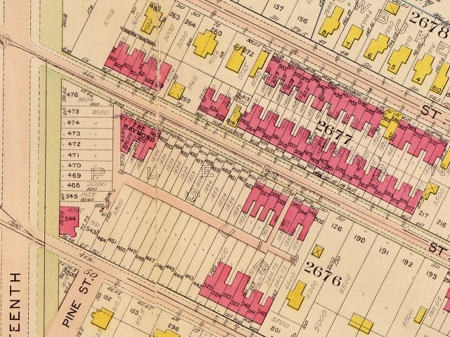 1907 Baist real estate atlas of Monroe St. NW (Library of Congress)