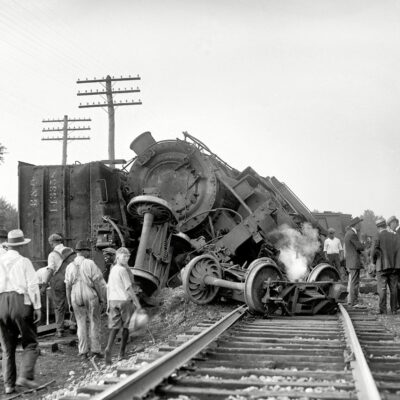 "Laurel, Maryland. July 31, 1922. ""Two B&O freights wrecked in head-on crash at Laurel switch."" National Photo Company glass negative (Shorpy)"