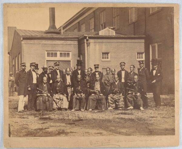 Japanese embassy posing for photo with naval officers at Washington's navy yard (Library of Congress)