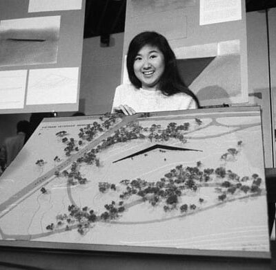 Maya Ying Lin, the Yale architecture student who submitted the winning design for the Vietnam Veterans' Memorial, holds a scale model of her design on May 6, 1981. © Bettmann/CORBIS (mentalfloss.com
