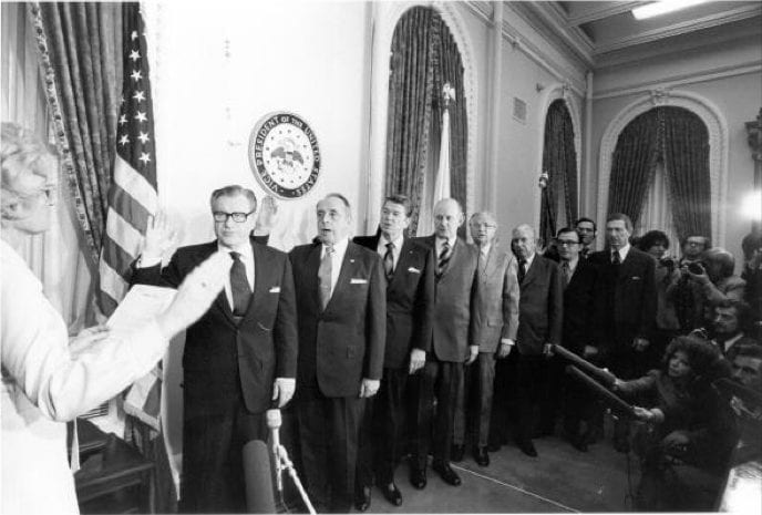 Swearing-in Ceremony of the Rockefeller Commission, 1975: Members included Nelson A. Rockefeller, Lyman L. Lemnitzer, Ronald Reagan, Edgar F. Shannon, Jr., David W. Belin, John T. Connor, C. Douglas Dillon, Erwin N. Griswold, and Lane Kirkland (Wikipedia)