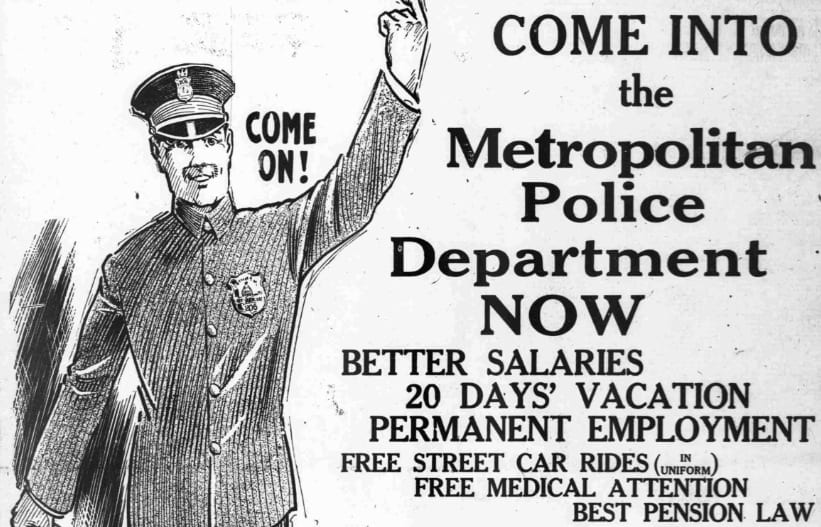 Come On! Join MPD in 1918; Free Street Car Rides (In Uniform)