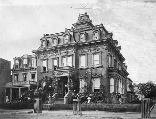 William Stickney residence in the 1870s. William leading against building (source: adolf-cluss.org)
