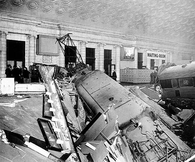 Pennsylvania Railroad locomotive sticking out of the basement of the station (Photo courtesy Trains magazine)