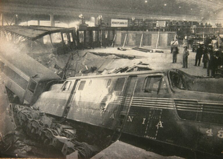 Locomotive and cars through the concourse (Photo courtesy of Trains magazine)