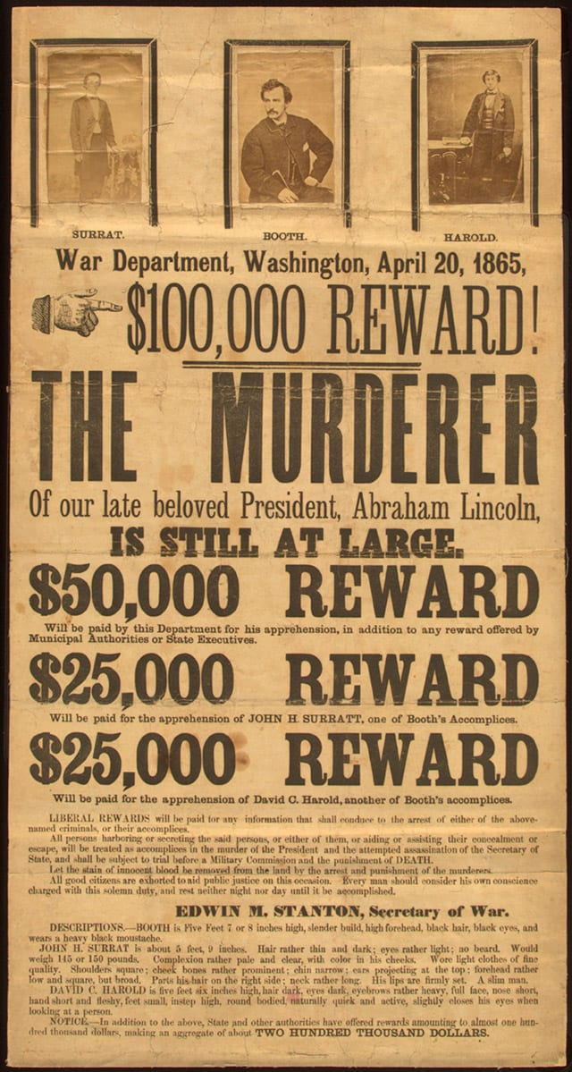 reward poster by the War Department for Booth, Surratt and Herold (Library of Congress)