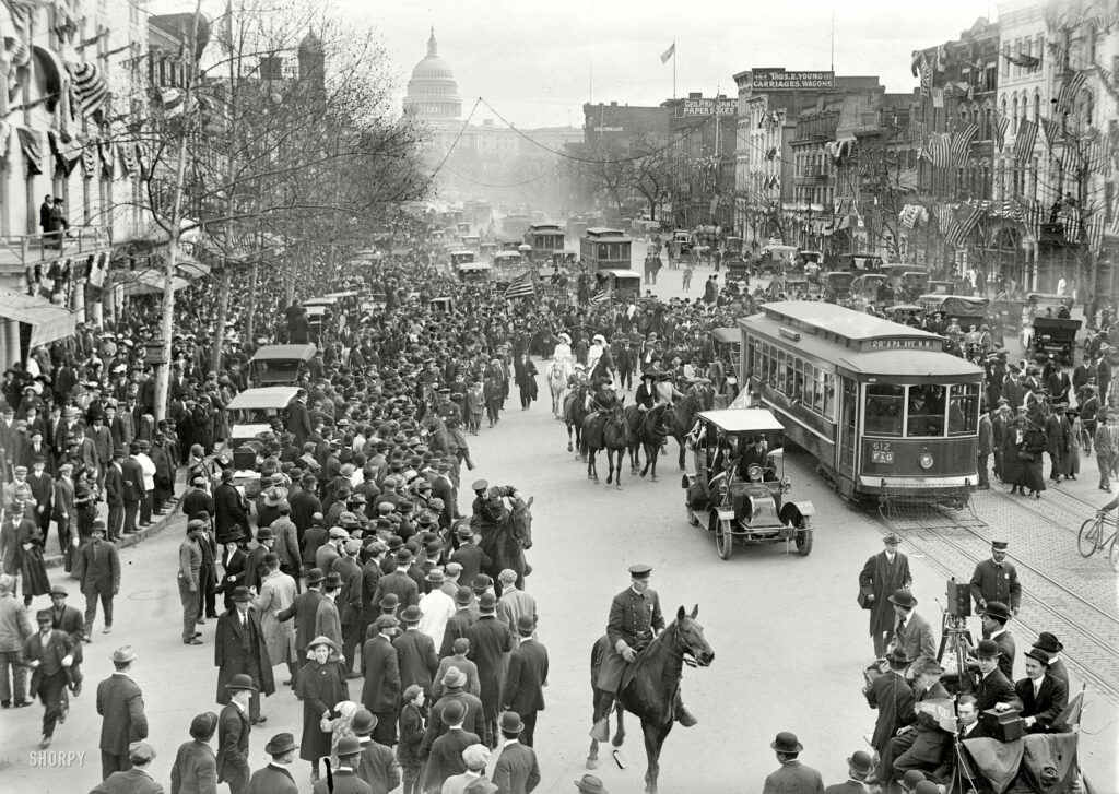"""February 1913. """"Woman suffrage -- hikers arriving in Washington from New York."""" Today marks the 90th anniversary of the 19th Amendment to the Constitution, which granted women the right to vote. Over the next few days we'll post some more suffrage photos. Harris & Ewing glass negative. (Shorpy)"""