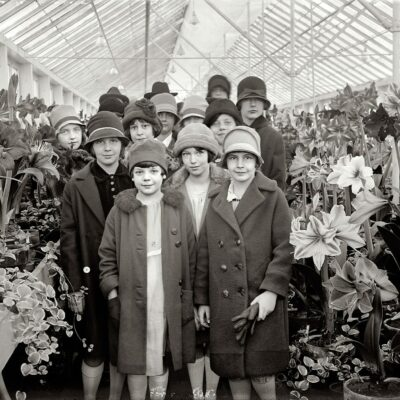 """March 21, 1927. Washington, D.C. """"Ruth Jardine (at right) and class at Amaryllis show. (Shorpy)"""