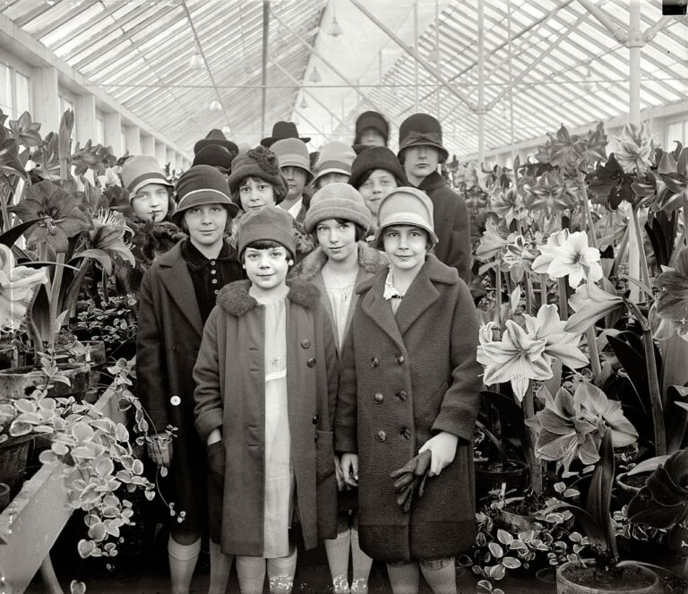 "March 21, 1927. Washington, D.C. ""Ruth Jardine (at right) and class at Amaryllis show. (Shorpy)"