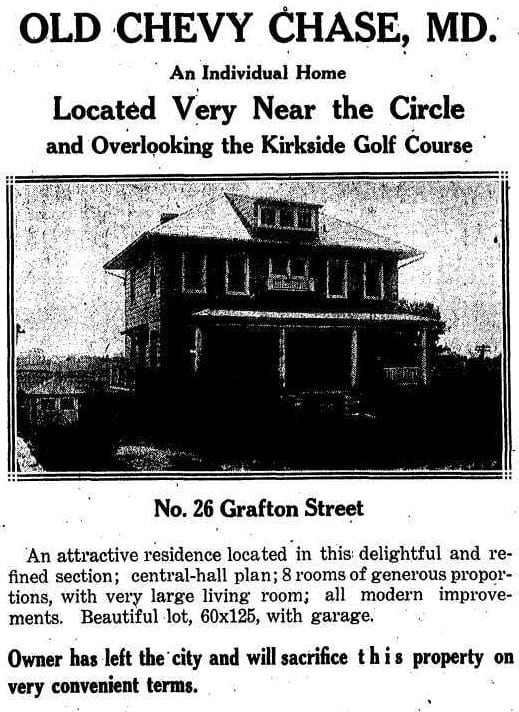 26 Grafton St. in Chevy Chase - August 19th, 1923 (Washington Post)