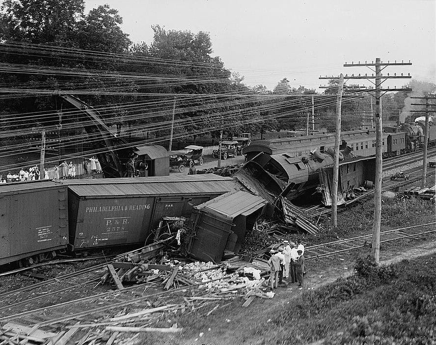 """July 31, 1922. Train wreck at Laurel, Maryland. """"2 Freights Crash at Laurel Switch -- B&O Trains Wrecked,"""" Washington Post, August 1, 1922, Page 3. Close variant of this photograph illustrates article."""
