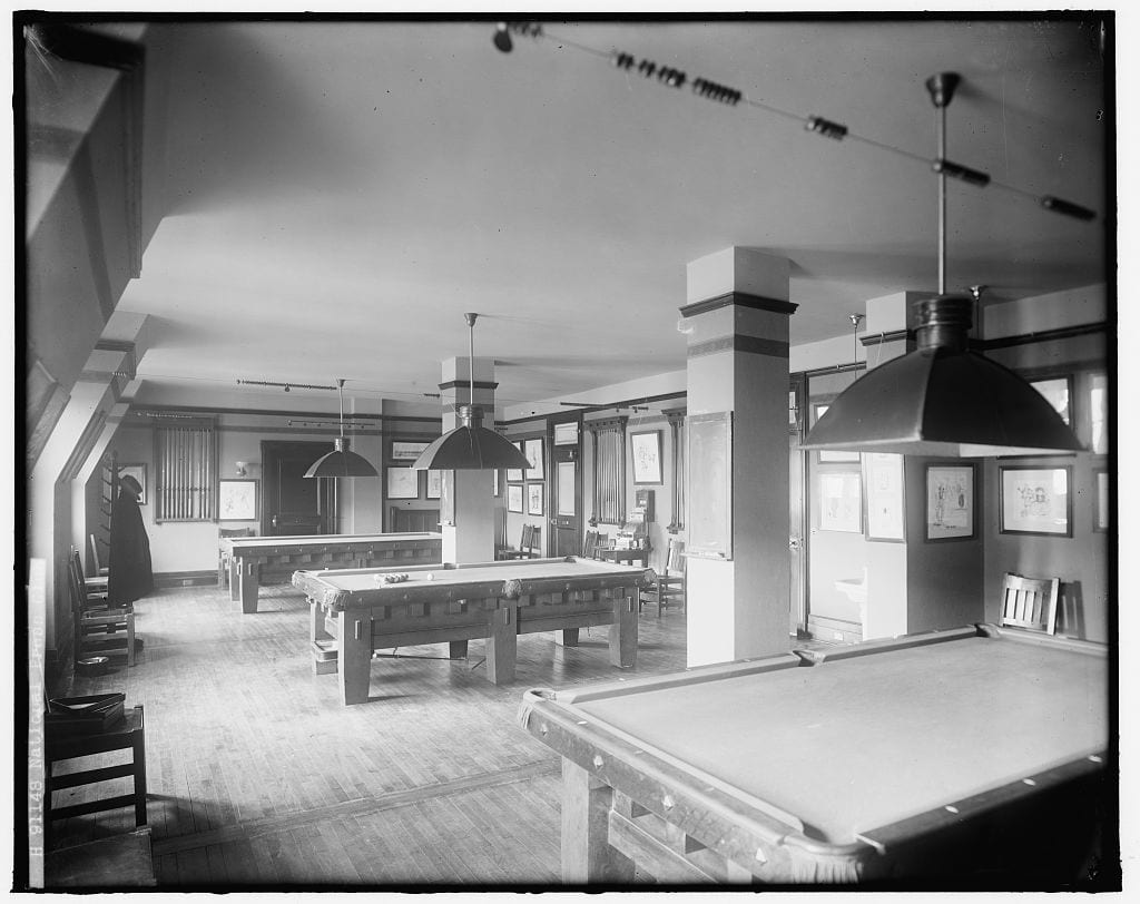 National Press Club billiards room in the 1930s (Library of Congress)