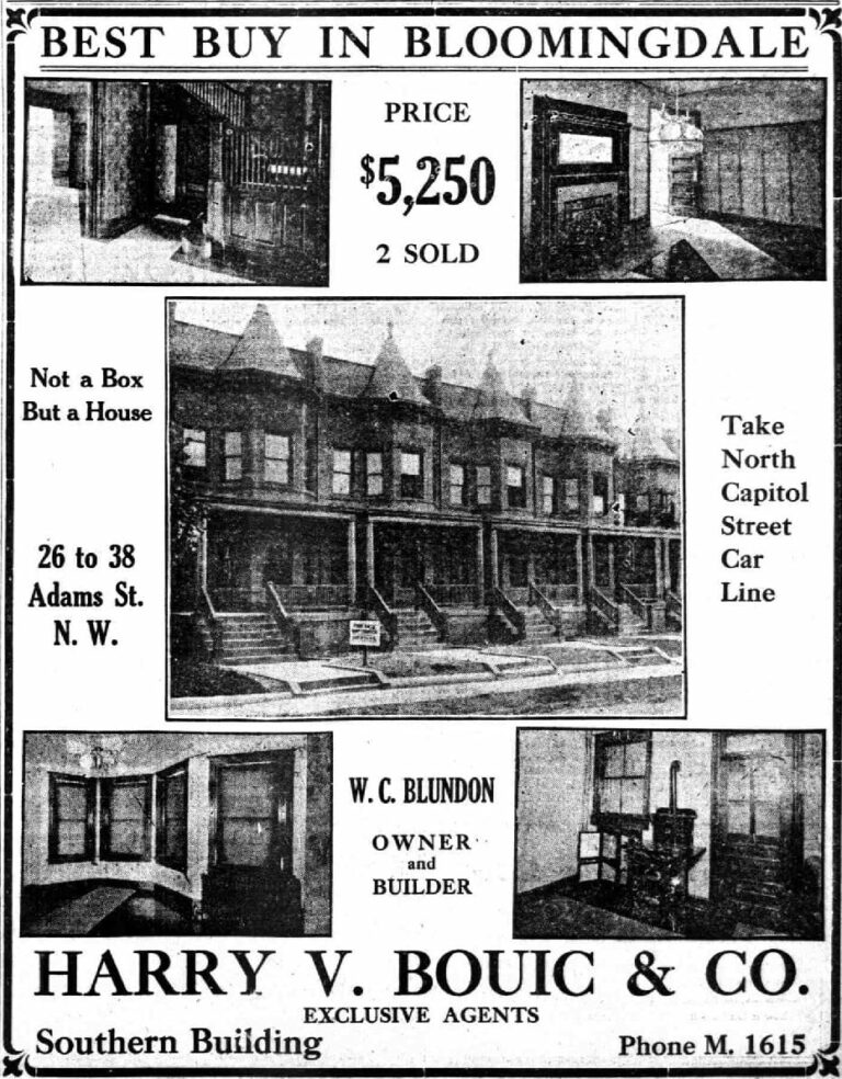 Bloomingdale real estate advertisement - August 19th, 1911 (Washington Times)