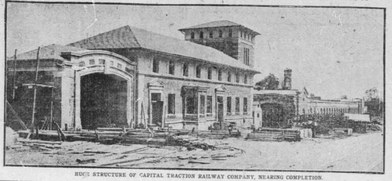 14th St. car barn under construction - August 2nd, 1907 (Washington Times)
