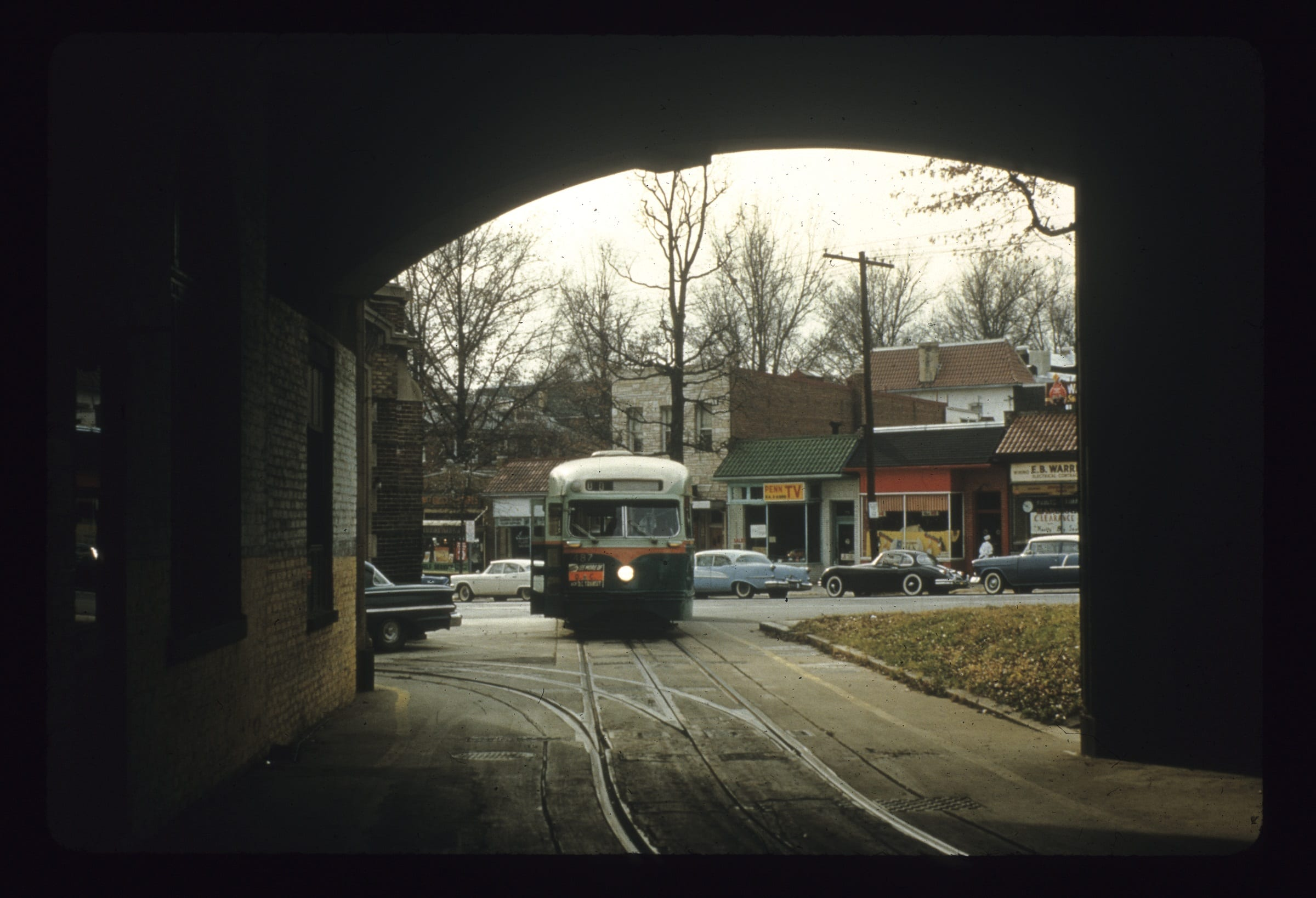 View from the interior of the car barn toward 14th Street, 1961 (source: Park View D.C.)