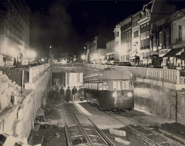 streetcar entering Dupont Underground near end of construction in 1949 (theatlanticcities.com)