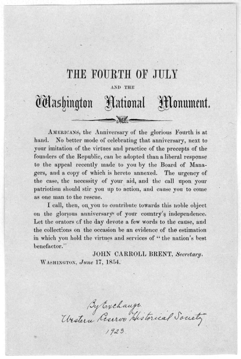 Leaflet calling for funds to help complete the Washington Monument by John Carroll Brent in 1854 (Library of Congress)