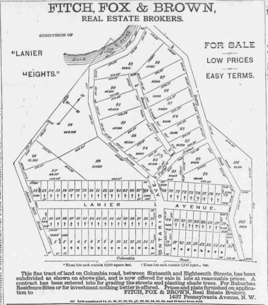 Fitch, Fox & Brown real estate advertisement for Lanier Heights - April 19th, 1884 (The National Republican)