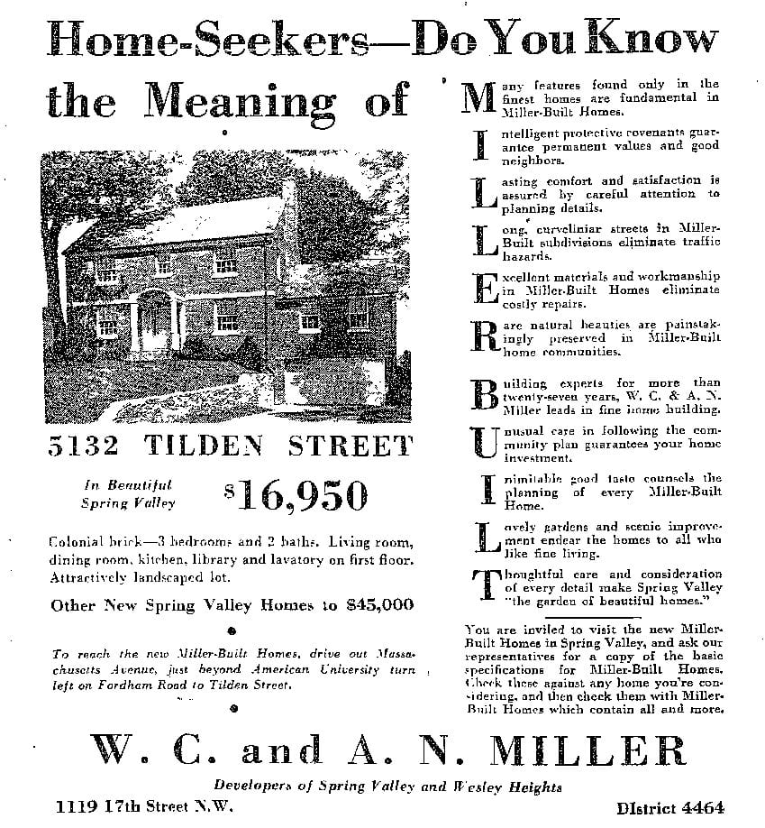 W.C. and A.N. Miller Spring Valley advertisement - May 28th, 1939 (Washington Post)
