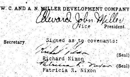 the restrictive covenant deed is signed by Sen. Richard Nixon and his wife, Patricia. The deed carried 55 cents worth of Internal Revenue stamps, indicating that the sale price of the home was $41,000.
