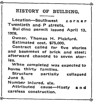 history of the building - June 10th, 1908 (Washington Post)