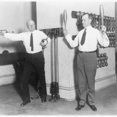Vice Pres. Coolidge and House Speaker Gillett exercising in House gym. Jan. 31, 1923 (Library of Congress)