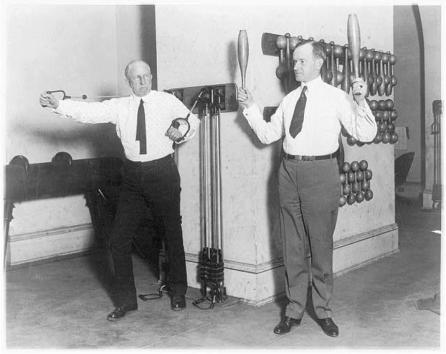 Vice President Coolidge and Speaker Gillett, Exercise Buddies