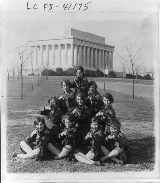 GWU girls rifle team near the Lincoln Memorial - February 2nd, 1927 (Library of Congress)