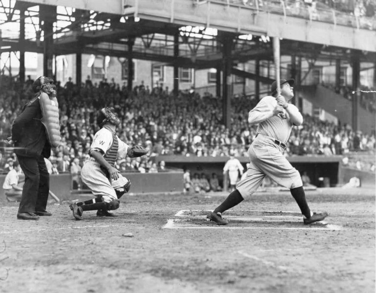 Babe Ruth at bat against Washington