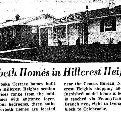 Hillcrest Heights real estate advertisement - September 23rd, 1961