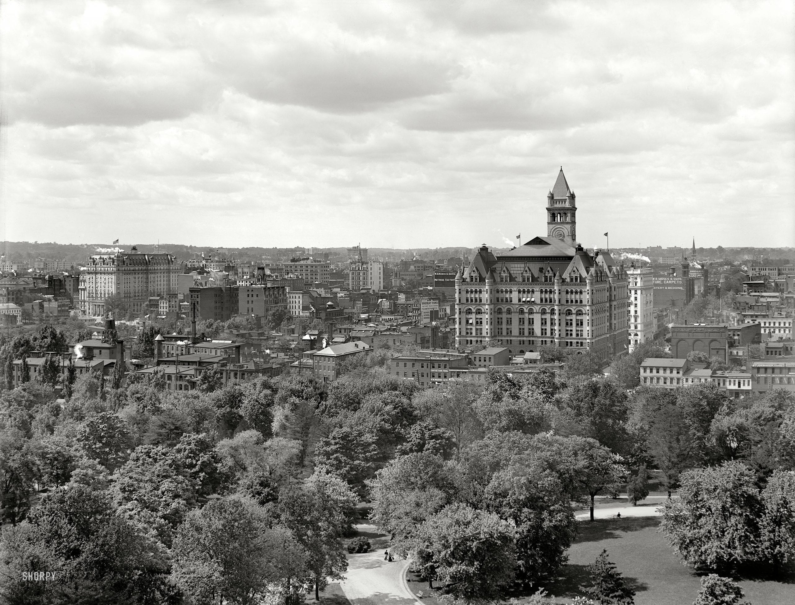 "Washington, D.C., circa 1904. ""North from the Smithsonian Institution."" Landmarks include the Willard Hotel at left and Old Post Office tower. 8x10 inch dry plate glass negative, Detroit Publishing Company."