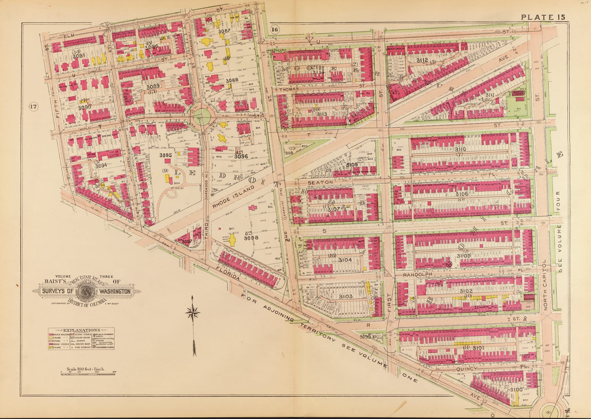 1907 Baist real estate atlas for Ledroit Park and Bloomingdale