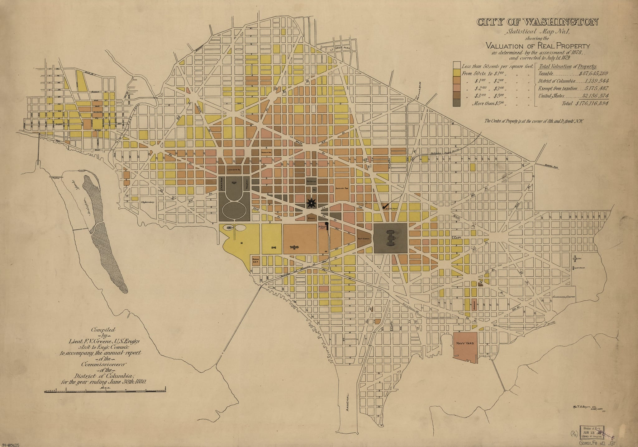 City of Washington Property Values Map From 1880