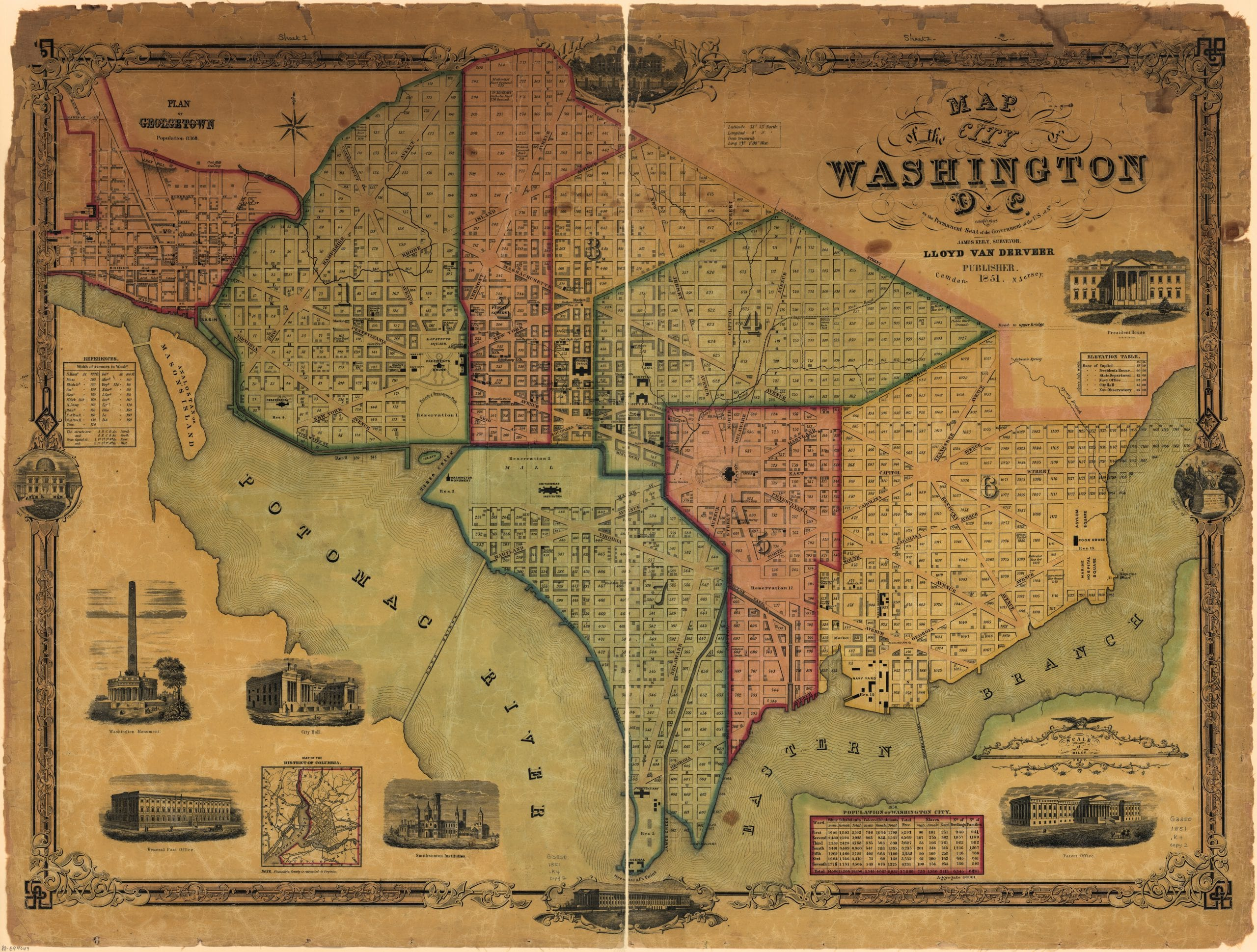 1851 Map of the City of Washington, D.C.