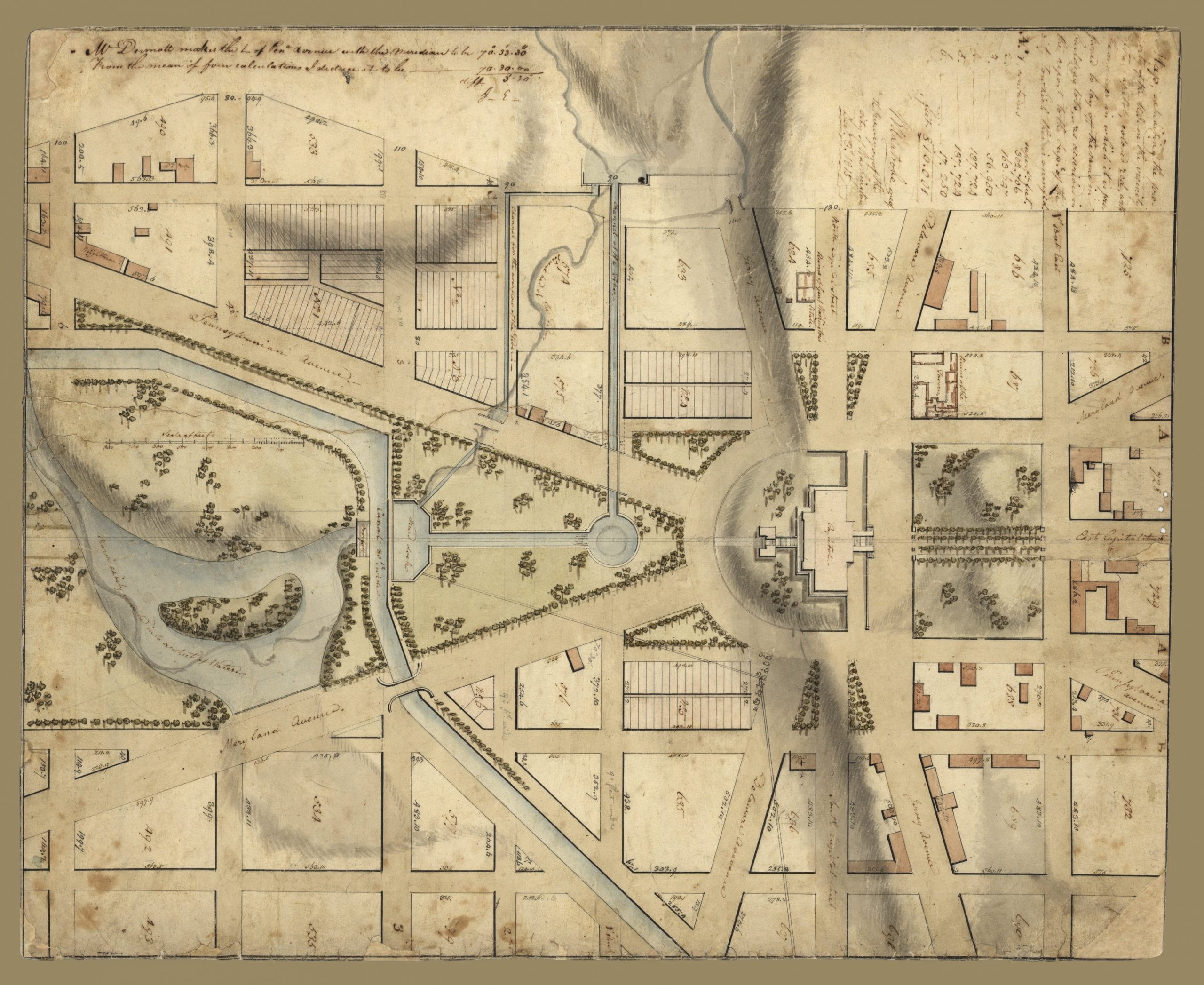 1815 Map of the Capitol and Its Surroundings