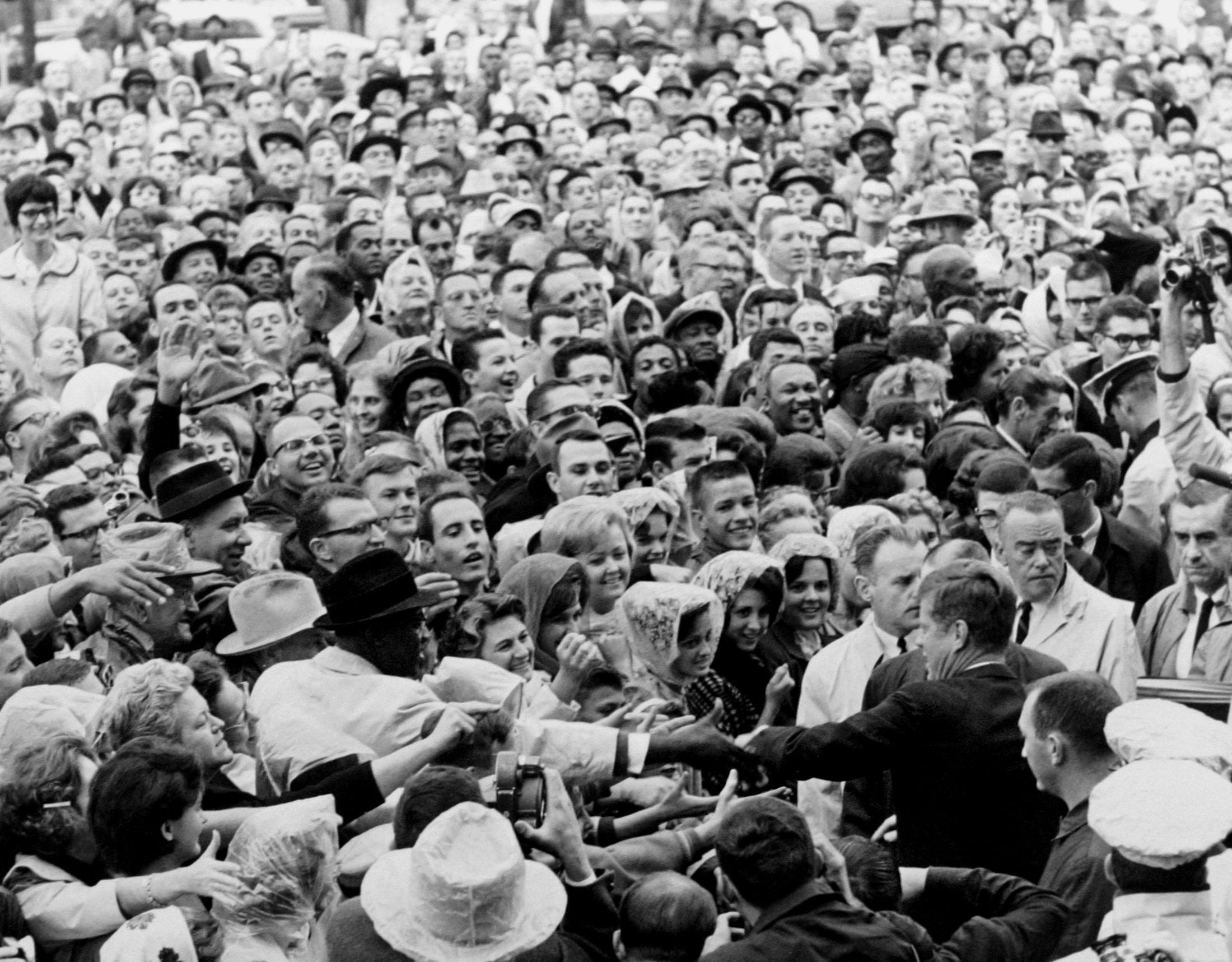 President Kennedy greets the crowd at rally in Fort Worth - November 22nd, 1963