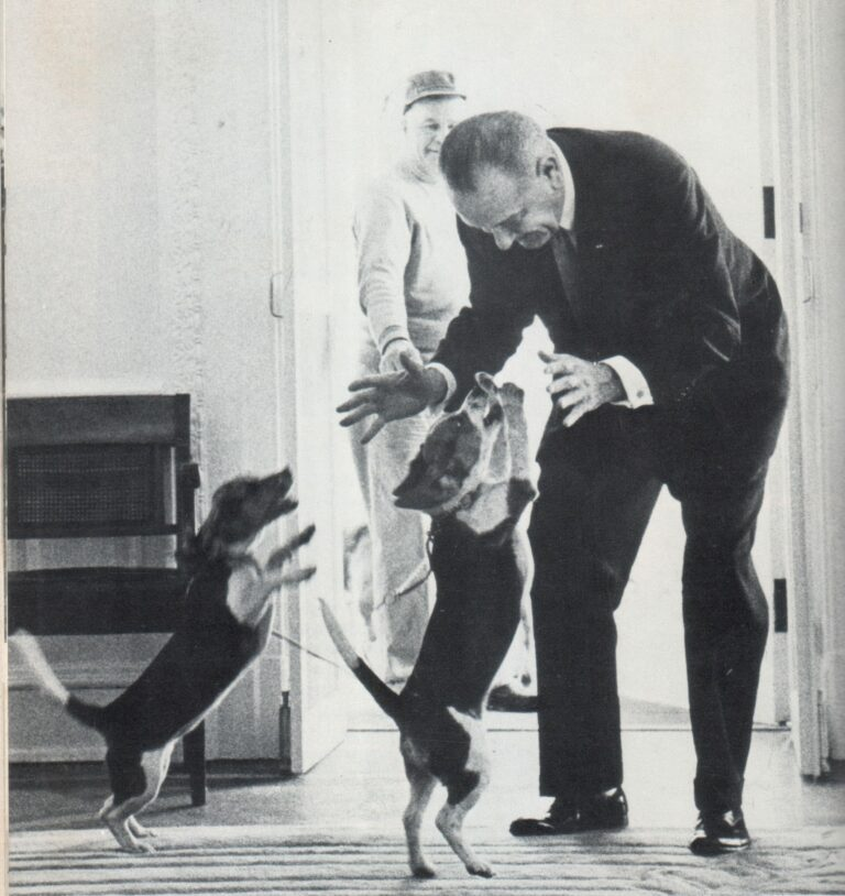 LBJ in the White House with his dogs Him and Her