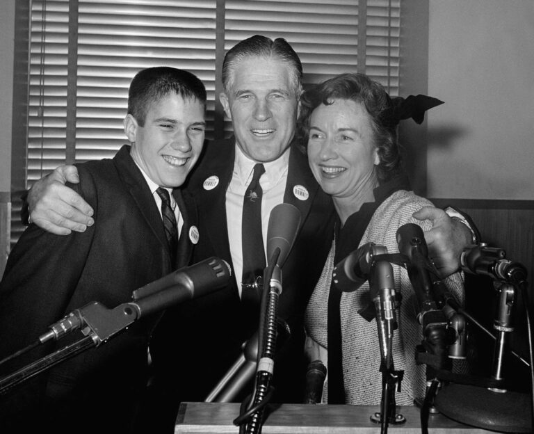 George, Lenore and Mitt (14) Romney at Detroit news conference after announcing he would see Republican nomination for governor of Michigan (February 10th, 1962)