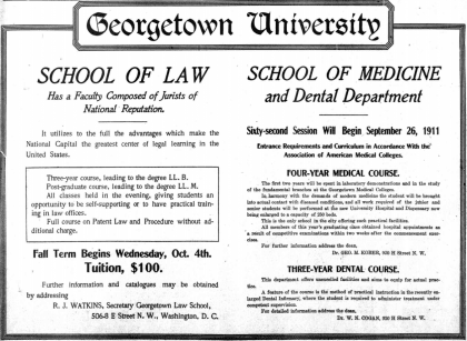 Georgetown University advertisement - September 3rd, 1911 (Washington Times)