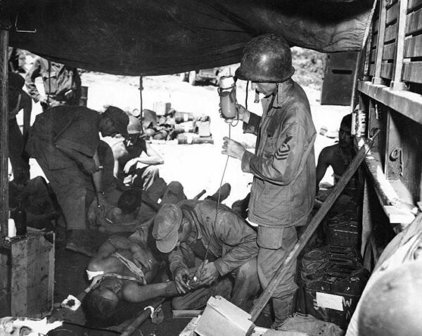 U.S. casualty being treated at Naktong River