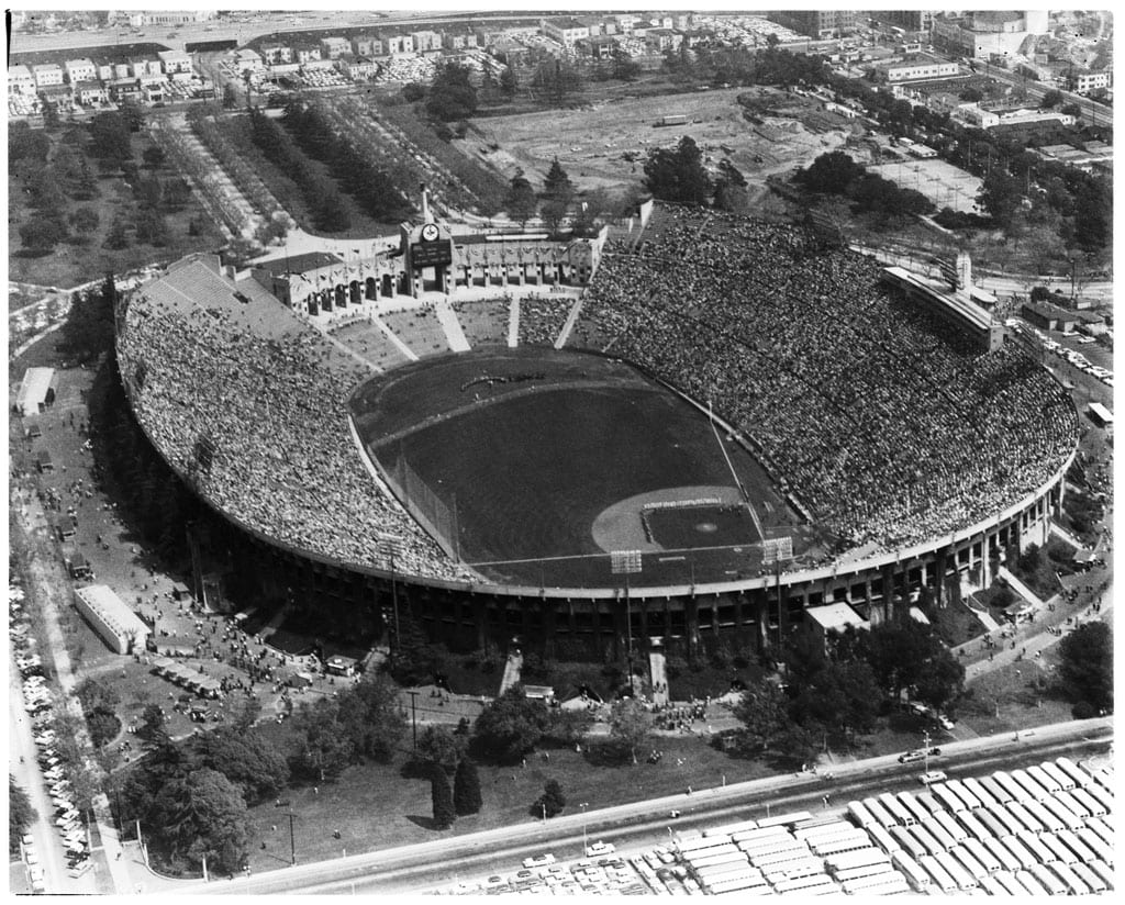 Aerial view of the Coliseum on Dodger's opening day, April, 18, 1958. The Dodgers played the San Francisco Giants.
